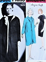 1960s ELEGANT Jacques Griffe 2 Pc Dress and Coat Pattern VOGUE Paris Original 1279 Straight Coat Striking CUTAWAY Front Chic Design Bust 34 Vintage Sewing Pattern +Label