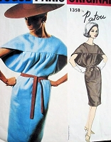 RARE 1960s Patou AVANT GARDE Dress Pattern Vogue Paris Original 1358 Slim Dramatic Wing Shaped Yoked Bodice Bust 32 Vintage Sewing Pattern