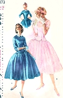 1950s LOVELY Long Line Bodice Full Skirt Dress Pattern SIMPLICITY 1373 Dreamy Scalloped Bodice Party Dress Detachable Cuffs n Collar 3 Versions Bust 34 Vintage Sewing Pattern
