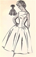 1950s BEAUTIFUL Party Evening Cocktail Dress Pattern PATTORAMA 1441 Gorgeous Fitted Longer Waistline, Full Skirt Interesting Neckline Bust 31 Vintage Sewing Pattern