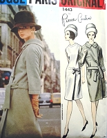 1960s CLASSY PIERRE CARDIN Elegant Dress and Coat Pattern VOGUE PARIS Original 1443 Bust 32 Vintage Sewing Pattern