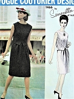 1960s SIMONETTA Dress Pattern Vogue Couturier Design 1466 Unique Waist Coat Creates 2 Pc Effect Dress Bust 34 Vintage Sewing Pattern
