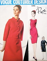 1960s Classy PUCCI Slim Dress and Short Jacket Pattern VOGUE Couturier Design 1490 Day or Evening Cocktail Dress Lovely Seam Interest  Bust 32 Vintage Sewing Pattern