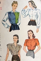 1940s CLASSIC Blouse Pattern SIMPLICITY 1538 Four Lovely Tuck In Versions Very Katharine Hepburn Style Bust 32 Vintage Sewing Pattern