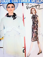1960s Elegant RODRIGUEZ Dress and Coat Pattern VOGUE COUTURIER 1539 Design Lovely Coat style Slim Dress  Day or Evening B 32 Vintage Sewing Pattern Sew In Vogue Label