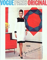 RARE 1960s YSL MONDRIAN Color Block Dress Pattern Iconic Yves Saint Laurent VOGUE Paris Original 1556 Mod Shift Day or Cocktail Evening Dress Bust  32 Vintage Sewing Pattern