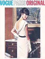 1960s SIZZLING Jacques Heim Dress Pattern VOGUE Paris Original 1574 Low Back Surplice Style Bias Roll Front Neckline Lovely Cocktail Evening Dress Bust 32 Vintage Sewing Pattern UNCUT