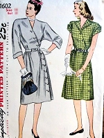 1940s STRIKING Asymmetric Surplice Dress Pattern SIMPLICITY 1602 V Neckline Lovely Day or After 5  Style Bust 30 Vintage Sewing Pattern