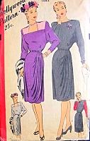 40s FILM NOIR Cocktail Dress Pattern HOLLYWOOD 1683 Draped Overskirt Pleated Side, Square or Bateau Neckline Bust 34 Vintage Sewing Pattern