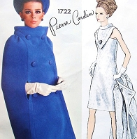 1960s Stunning PIERRE CARDIN Cocktail Party Dress and Cape Coat Pattern VOGUE PARIS Original 1722 Unique V Shape Plastron With Standing Collar Mod Dress Bust 32 Vintage Sewing Pattern FF +Label