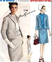 1960s MOLYNEUX 3 Pc Suit Pattern VOGUE PARIS ORIGINAL 1740 Daytime or Evening Classy Slim Skirt , Back Interest Jacket and Overblouse Bust 36 Vintage Sewing Pattern