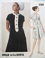 1960s LOVELY Oscar de La Renta Dress Pattern VOGUE Americana 1769 A Line Inverted Front Pleat Vintage Sewing Pattern Bust 31