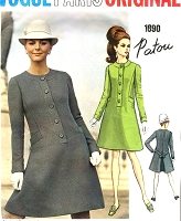 1960s Mod PATOU Coat Dress Pattern VOGUE Paris Original 1890 Semi Fitted Dress Bust 32 Vintage Sewing Pattern FACTORY FOLDED