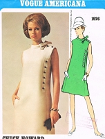 1960s ELEGANT Chuck Howard Dress Pattern VOGUE AMERICANA 1926 Side Button Design Daytime or After 5 Dinner Dress Bust 32 Vintage Sewing Pattern