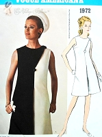 1960s ELEGANT Bill Blass Dress Pattern VOGUE AMERICANA 1972 Day or Evening Includes Two Tone Version Bust 36 Vintage Sewing Pattern