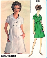 1960s CLASSY Day or Cocktail Party Dress Pattern VOGUE Americana Teal Traina High Waist Coat Dress Bust 32 Vintage Sewing Pattern FACTORY FOLDED