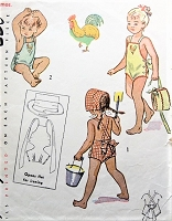 1940s ADORABLE Toddlers SunSuit Swimsuit Rompers and Bonnet Hat Pattern SIMPLICITY 1990 So CUTE and Easy To Make Size 1Childrens Vintage Sewing Pattern