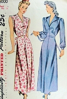 1940s LOVELY Nightgown Pattern SIMPLICITY 2000 V Necklines 2 Style Versions Bust 34 Lingerie Vintage Sewing Pattern