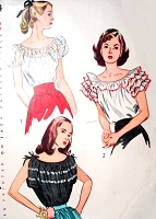 1940s ROMANTIC Peasant Blouses Pattern SIMPLICITY 2034 Three Pert Styles Bust 30 Vintage Sewing Pattern