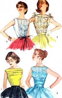 1950s BEAUTIFUL Day or Evening Blouse Pattern SIMPLICITY 2051 Four Lovely Styles Bateau Neckline, Pintucks, All Lace, Bow Trim , Shoulder Ties Version Bust 34 Vintage Sewing Pattern