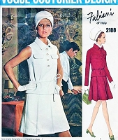 60s FABIANI 2 Pc Dress Pattern VOGUE COUTURIER Design 2180 Pleated Skirt ,Top, Patch Pockets Cute 2 Pc Dress Bust 32 Vintage Sewing Pattern FF