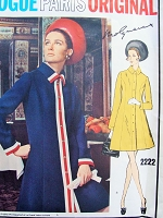 60s MOLYNEUX Coat Dress Pattern VOGUE Paris Original 2222 Stylish Semi Fitted A Line Dress Bust 38 Vintage Sewing Pattern