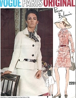 1960s CLASSY Pierre Balmain Suit and Blouse Pattern VOGUE Paris Original 2251 Easy Chic Bust 34 Vintage Sewing Pattern FACTORY FOLDED