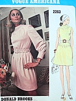 Vogue Americana Vintage Sewing Pattern 2263 Donald Brooks Designer BEAUTIFUL Evening or Party Dress with Tucks at Neckline UNCUT + Label