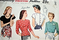 1940s PRETTY Blouse Pattern SIMPLICITY 2343 Three Lovely Versions, Tuck in or Overblouse,Button Back Blouses Bust 34 Vintage Sewing Pattern
