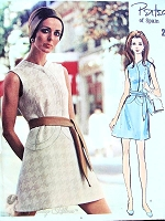 1960s MOD Pertegaz Dress Pattern VOGUE Couturier Design 2344 Figure Flattering Style Bust 34 Vintage Sewing Pattern
