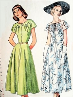 Late 40s LOVELY Day or Party Dress  Pattern SIMPLICITY 2507 Two Flattering Styles Bias Cut Skirt Bust 30 Vintage Sewing Pattern