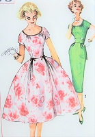 1950s BEAUTIFUL Slim or Full Skirt Party Cocktail Evening Dress Pattern SIMPLICITY 2573 Vintage Sewing Pattern Bust 33 UNCUT