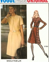 1970s FABULOUS Molyneux Dress Pattern VOGUE Paris Original 2785 Chic Design With Seam Interest Bust 34 Vintage Sewing Pattern