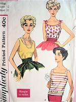 1950s ROCKABILLY Marilyn Monroe Style Blouses Pattern SIMPLICITY 3021 Three Style Versions Bust 32 Vintage Sewing Pattern