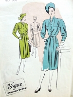1940s DRAMATIC Tailored Dress Pattern VOGUE Couturier Design 303 Wonderful ADRIAN Style Details Bust 32 Vintage Sewing Pattern
