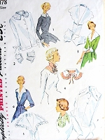 1950s FABULOUS Accessory Pattern SIMPLICITY 3078 Lovely Collars, Cuffs, Dickey, Gilets Perfect Under Suits, Dress Up Sweaters  Vintage Sewing Pattern