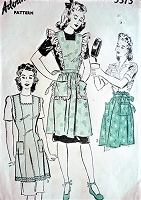 1940s CUTE Apron Pattern ADVANCE 3313 Three Sweet Styles Full Bib and Half Aprons Bust 32-34 Vintage Sewing Pattern