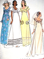 1970s RETRO Romantic Bridal Gown Wedding Dress Pattern BUTTERICK 3491 Empire Style Four Versions Bust 34 Vintage Sewing Pattern