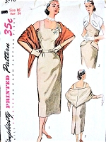 1950s CHIC Slim Dress, Bolero Jacket and Stole Pattern SIMPLICITY 3546 Day or Cocktail Party Bust 34 Vintage Sewing Pattern
