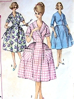 1960 CLASSY Brunch Coat Robe Housecoat Pattern SIMPLICITY 3736 Stylish House Dress Mad Men Era Bust 38 Vintage Sewing Pattern
