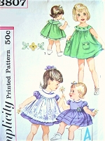 1960s ADORABLE Toddler Little Girl Dress Pattern SIMPLICITY 3807 Dress,Pinafore and Bloomers Panties Sweet Styles Toddler Size 2 Vintage Childrens Sewing Pattern
