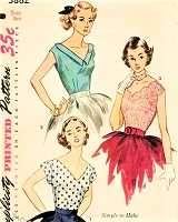 1950s BEAUTIFUL V Neckline Blouse Pattern SIMPLICITY 3882 Three Lovely Versions Day or Evening Blouses Bust 32 Simple To Make Vintage Sewing Pattern