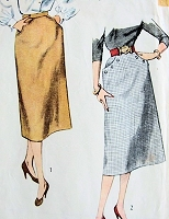 1950s FAB Slim Skirt Pattern SIMPLICITY 3983 Simple To Make Skirts waist 26 Vintage Sewing Pattern