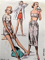 1950s ROCKABILLY Beach Wardrobe Pattern McCALLS 4036 Crop Top Bodice, High Waist Shorts, Bra Top, Slim Skirt and Hooded Beach Jacket Bust 36 Vintage Sewing Pattern
