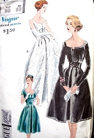 1950s ELEGANT Evening Dress and Petticoat Pattern VOGUE Special Design 4065 Flattering Almost Off Shoulders Neckline, Formal Ball Gown Evening  or Cocktail Party Length Bust 36 Vintage Sewing Pattern