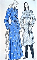 1940s STYLISH Housecoat,Lounging Robe or Brunch Coat Pattern BUTTERICK 4249 Wrap Around Robe or Short Length Smart Tunic Look Lounging Coat, 2 Necklines Bust 32 Vintage Sewing Pattern