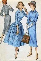 1950s SMART Slim or Full Skirt Dress Pattern McCALLS 4249  Bust 36 Easy To Sew Vintage Sewing Pattern