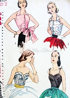 50s BOMBSHELL Blouses and Bodice Pattern SIMPLICITY 4351 Four Unique Designs Includes Sash, Day or Evening Bust 30 Vintage Sewing Pattern
