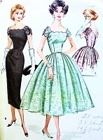 1950s GLAMOROUS Cocktail Evening Party Dress Pattern McCALLS 4357 Gorgeous Scalloped Neckline Shirred Sleeves Full Skirt or Slim Sheath Styles Pure Glam Bust 32 Vintage Sewing Pattern