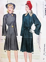 1940s FILM NOIR Coat Pattern McCALL 4374 Elegant 1941 Side Closing Bell Sleeved Coat Bust 32 Vintage Sewing Pattern